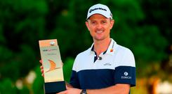 Justin Rose of England poses with the Trophy after he wins the final round during Day Four of the Turkish Airlines Open at Regnum Carya Golf & Spa Resort on November 4, 2018 in Antalya, Turkey. (Photo by Warren Little/Getty Images)