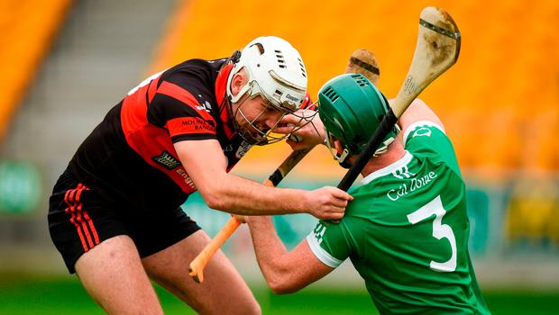Trevor Corcoran of Coolderry in action against Chris Nolan of Mount Leinster Rangers during the AIB Leinster GAA Hurling Senior Club Championship quarter-final match between Coolderry and Mount Leinster Rangers at Bord na Mona O'Connor Park in Tullamore, Offaly. Photo by Barry Cregg/Sportsfile