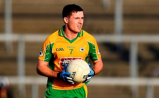 Dylan Wall of Corofin during the Galway County Senior Club Football Championship Final match between Mountbellew-Moylough and Corofin at Pearse Stadium, Galway. Photo by Harry Murphy/Sportsfile