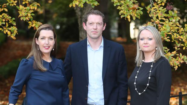 Campaigners Vicky Phelan, Stephen Teap and Lorraine Walsh (Niall Carson/PA)