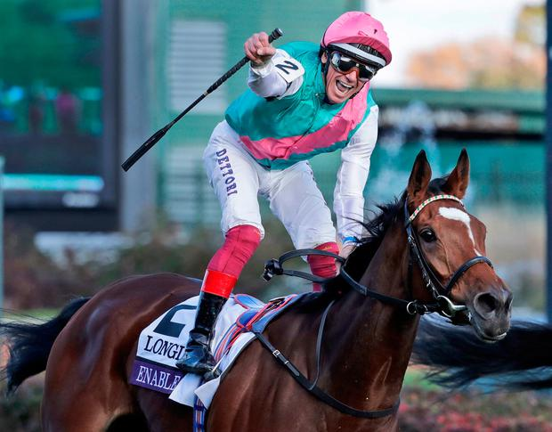 Frankie Dettori on Enable. Image: AP Photo/Darron Cummings