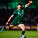Jack Carty of Connacht kicks a conversion. Photo by Ramsey Cardy/Sportsfile