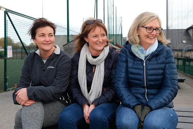 Aileen McDowell, Lisa Martin and Kay O'Sullivan, all from Glasnevin, watching the Na Fianna minors in action. Photo: Damien Eagers/INM