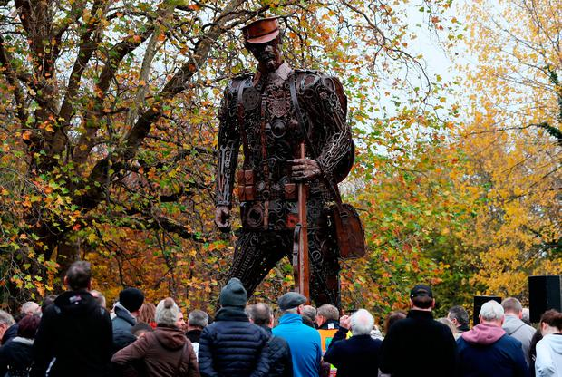Remembrance: 'The Haunting Soldier' – depicting a weary World War I soldier – stands six metres high in St Stephen's Green, Dublin, after its unveiling yesterday. It commemorates the centenary of the ending of the war. Photo: Brian Lawless/PA