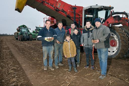 Food for thought: Brendan O'Gorman, far right, harvesting potatoes in Johnstown, Athy, with family members and employees. Photo: Tony Gavin