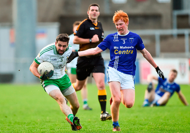 Kevin McKernan of Burren in action against Ryan O'Toole of Scotstown. Photo by Oliver McVeigh/Sportsfile