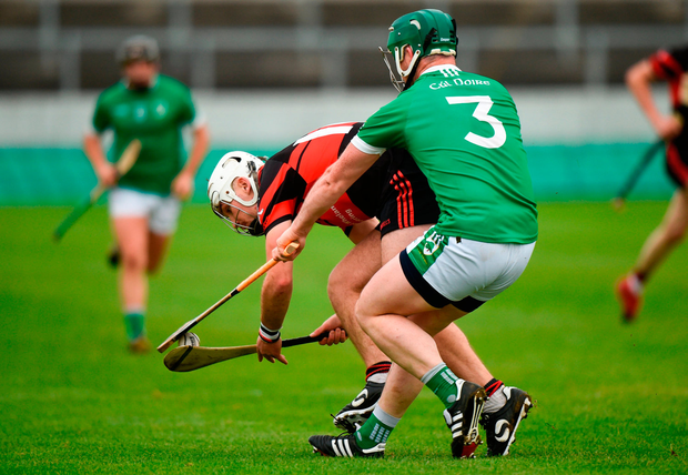 Chris Nolan of Mount Leinster Rangers in action against Trevor Corcoran of Coolderry. Photo by Barry Cregg/Sportsfile