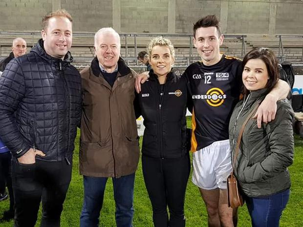 Niall Canning (fourth from left) following the UnderDogs Match versus Dublin with his brother-in-law Ben, dad Brendan, selector Valerie Mulcahy and sister Nicola.