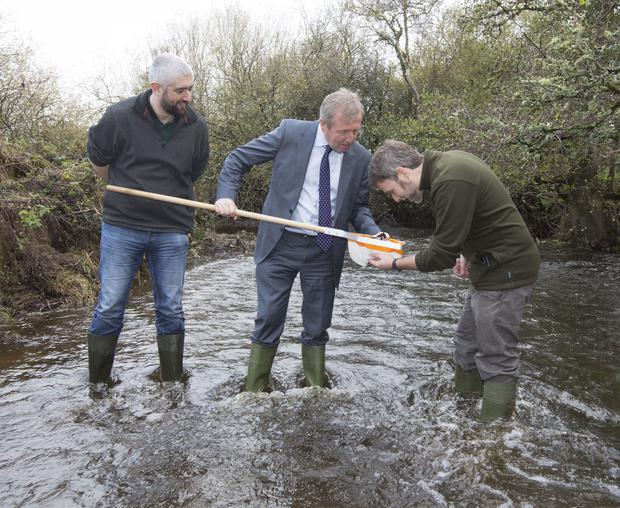 Minister for Agriculture, Food and the Marine Michael Creed launched a new National Water Quality Initiative on the Allow River, Duhallow near Kanturk. Minister Breen is photographed above with on left Kieran Murphy, Community Water Officer at Local Authority Waters and Communities and Dr.Paul O'Callaghan, Local Authorities Waters Programme. Photograph Liam Burke Press 22