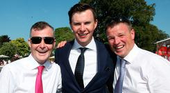 Family affair: Joseph O'Brien with his uncles Pat Smullen (left) and Kevin O'Ryan after he had trained Latrobe to win this year's Dubai Duty Free Irish Derby. Photo: www.carolinenorris.ie