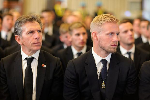Leicester City manager, Claude Puel and goalkeeper Kasper Schmeichel in attendance at Vichai Srivaddhanaprabha's funeral in Bangkok, Thailand. Photo: REUTERS