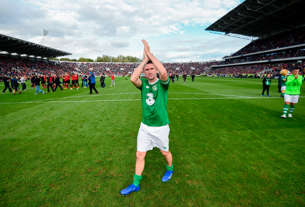 Robbie Keane at the Liam Miller benefit match. Photo: Sportsfile