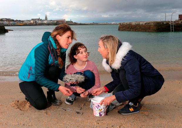 Shocked: Locals Grainne Grehan, left, and Harriet Donnelly with her daughter Flossie (11) collect sharp plastic slivers on the beach in Sandycove. Photo: Damien Eagers