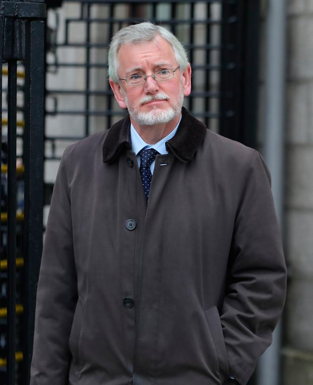 Suspended solicitor Declan O'Callaghan, who has promised to pay back €600,000 to a client account, leaves the Four Courts in Dublin yesterday. Picture: Collins