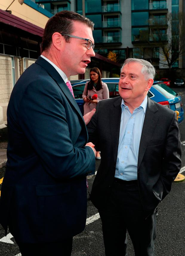 Under fire: Spokesperson on health Alan Kelly with party leader Brendan Howlin at Labour's conference in Dublin. Photo: PA Wire