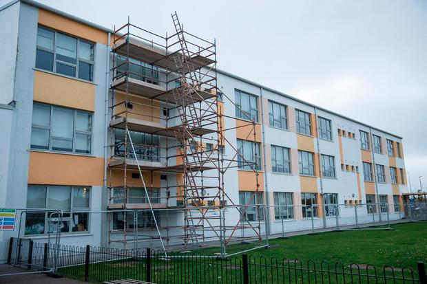 Scaffolding erected at Tyrrelstown Educate Together school. Photo: Mark Condren