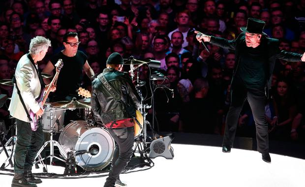 Bono, The Edge, Adam Clayton and Larry Mullen Jnr. from U2 performing during the first night of the eXPERIENCE + iNNOCENCE Tour at the 3Arena in Dublin. Pic Steve Humphreys