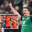 Johnny Sexton celebrates drop goal against France and (inset) the sons of Anthony Foley, Tony, left, and Dan, with CJ Stander