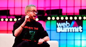 Christopher Wylie, left, and Krishnan Guru-Murthy of Channel 4 News speak on Centre Stage. Photo: Seb Daly/Web Summit