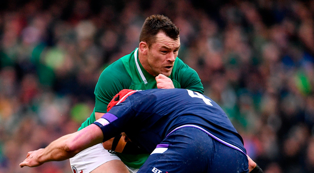 10 March 2018; Cian Healy of Ireland is tackled by Grant Gilchrist of Scotland during the NatWest Six Nations Rugby Championship match between Ireland and Scotland at the Aviva Stadium in Dublin. Photo by Ramsey Cardy/Sportsfile