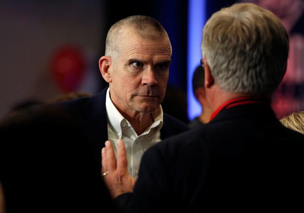 U.S Senate candidate Matt Rosendale talks with supporters at an election night party in Helena, Montana, U.S., November 6, 2018. REUTERS/Jim Urquhart