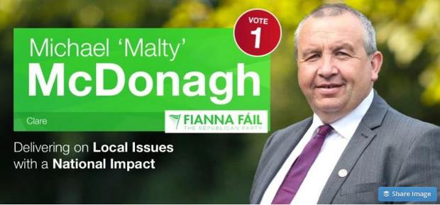An election leaflet for Michael 'Malty' McDonagh
