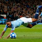 Soccer Football - Champions League - Group Stage - Group F - Manchester City v Shakhtar Donetsk - Etihad Stadium, Manchester, Britain - November 7, 2018 Manchester City's Raheem Sterling goes down and is later awarded a penalty REUTERS/Andrew Yates