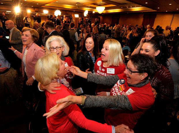Democrats celebrate after Laura Kelly is elected governor of Kansas. Photo: REUTERS/Dave Kaup