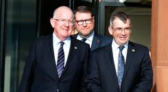 Meeting: Justice Minister Charlie Flanagan, PSNI Temporary Deputy Chief Constable Stephen Martin and Garda Commissioner Drew Harris at the conference. Photo: Damien Eagers