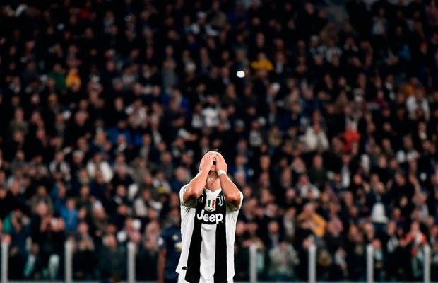 Juventus forward Cristiano Ronaldo reacts after the match. Photo: Getty