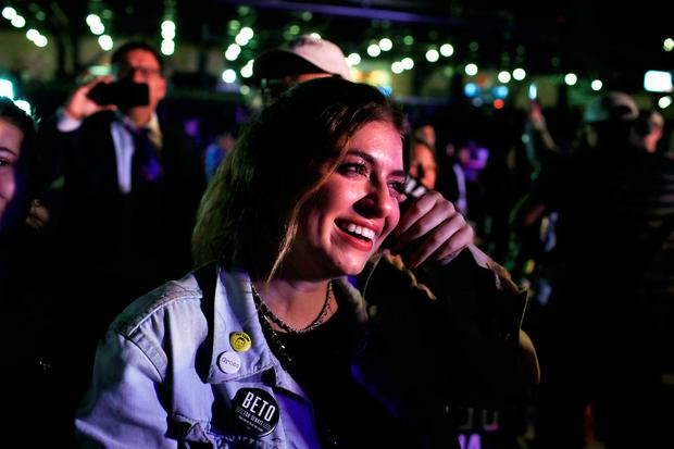 Count: A supporter of Republican Beto O'Rourke cries as he concedes Texas. Picture: REUTERS/Mike Segar