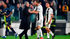 Jose Mourinho argues with Leonardo Bonucci of Juventus