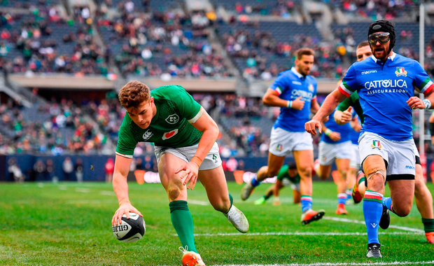 Garry Ringrose of Ireland scores his side's seventh try against Italy