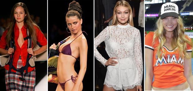 (L to R) Candice Swanepoel, Adriana Lima, Gigi Hadid and Elsa Hosk through the years