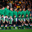 16 June 2018; The Ireland team stand for the national anthem prior to the 2018 Mitsubishi Estate Ireland Series 2nd Test match between Australia and Ireland at AAMI Park, in Melbourne, Australia. Photo by Brendan Moran/Sportsfile