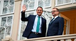 Finland's Prime Minister Juha Sipila, right, and Irish Prime Minister Leo Varadkar at the Prime Minister's official residence Kesaranta in Helsinki, Finland (Antti Aimo-Koivisto/Lehtikuva via AP)