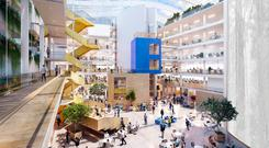 An artists impression of the atrium plans for Facebook's new Ballsbridge offices. Photo: Transparent House Inc