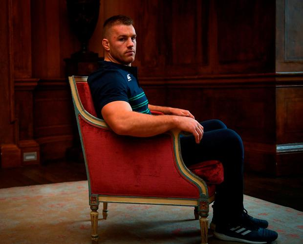 Seán O'Brien poses for a portrait after training in Carton House, Maynooth ahead of tomorrow's Test match against Argentina. Photo: Piaras Ó Mídheach/Sportsfile