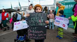 Worry: Alex Francis (7), of St Luke's NS, Tyrrellstown, at a protest seeking more safety assurances. Photo: Kyran O'Brien