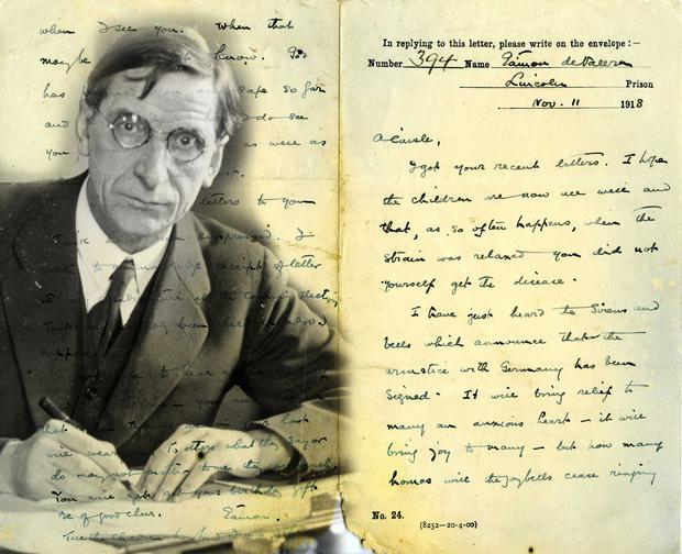Tender: The letter from De Valera to his wife on Armistice Day. PHOTO: UCD ARCHIVES PRIVATE CORRESPONDENCE OF ÉAMON AND SINEÁD DE VALERA © USED BY PERMISSION