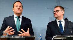 Taoiseach Leo Varadkar pictured with Finland's Prime Minister Juha Sipila during a press conference at the Prime Minister's official residence Kesaranta in Helsinki, Finland. AP photo