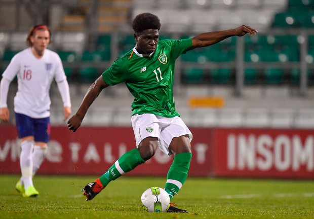 8 November 2018; Festy Ebosele of Republic of Ireland scores his side's first goal from a penalty during the U17 International Friendly match between Republic of Ireland and England at Tallaght Stadium in Tallaght, Dublin. Photo by Brendan Moran/Sportsfile