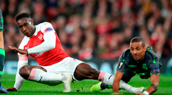 Danny Welbeck suffers an ankle injury during Arsenal's draw against Sporting Lisbon Photo: Nick Potts/PA Wire