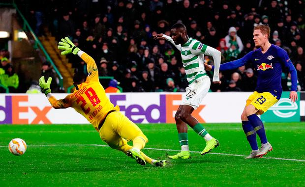 Celtic's Odsonne Edouard was on hand to score the winning goal at Park Head last night. Photo: Ian MacNicol/Getty Images