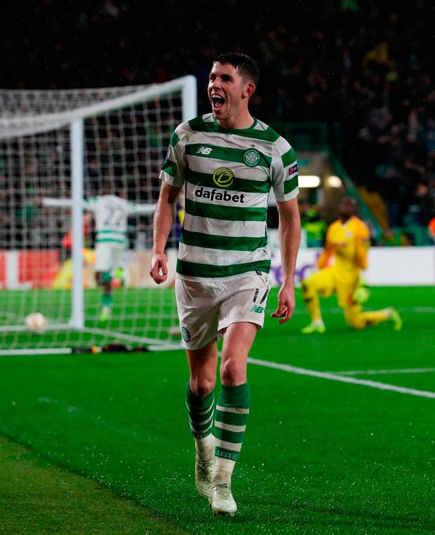 Ryan Christie of Celtic celebrates his side's winning goal. Photo: Ian MacNicol/Getty Images