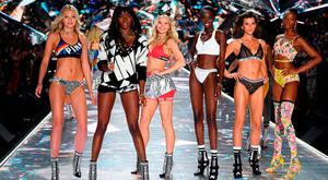 (L-R) Maggie Laine, Zuri Tibby, Josie Canseco, Subah Koj, Georgia Fowler, and Mayowa Nicholas walk the runway during the 2018 Victoria's Secret Fashion Show at Pier 94 on November 8, 2018 in New York City. (Photo by Dimitrios Kambouris/Getty Images for Victoria's Secret)
