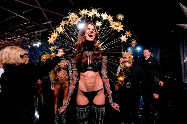 Barbara Fialho poses backstage during the 2018 Victoria's Secret Fashion Show at Pier 94 on November 8, 2018 in New York City. (Photo by Dia Dipasupil/Getty Images for Victoria's Secret)