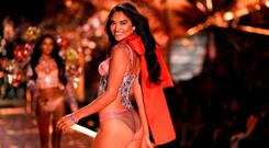 Shanina Shaik walks the runway at the 2018 Victoria's Secret Fashion Show on November 8, 2018 at Pier 94 in New York City