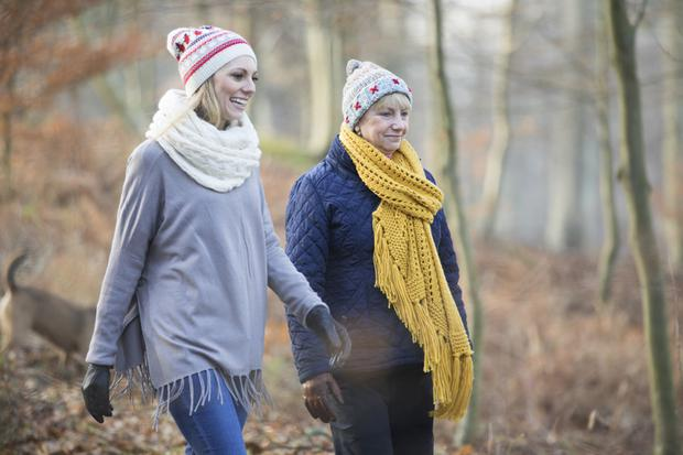 Two friends go on a winter walk together.