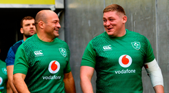 Rory Best, left, and Tadhg Furlong ahead of the Ireland rugby captains run